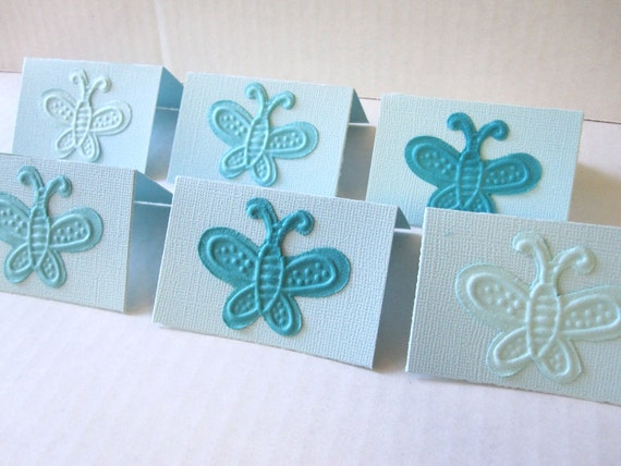Blue Butterfly Mini Note Cards Set of 12 Birthday Thank You Tags Cards