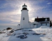 "Maine Fine Art Photography Wall Art  Lighthouse Winter Scenic Coast Landscape "" Pemaquid Silhouette "" by Hal Hagy (all rights reserved) - luckydoggallery"