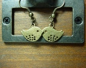 Little Petite Bird Antique Brass Dangle Earrings by vintagerust