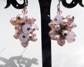 Vintage Pink Wire Wrapped Swarovski Pearl and Crystal Earrings by vintagerust