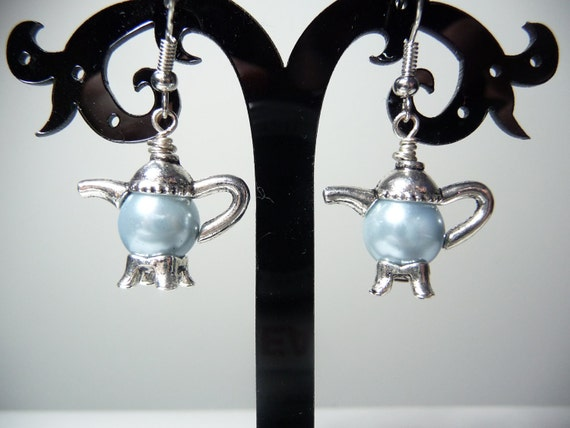 Light Blue Glass Pearl and Antique Silver teapot earrings by vintagerust