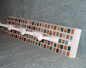 Cottage Shabby Chic Wall Rack Hook Organizer Orange Teal