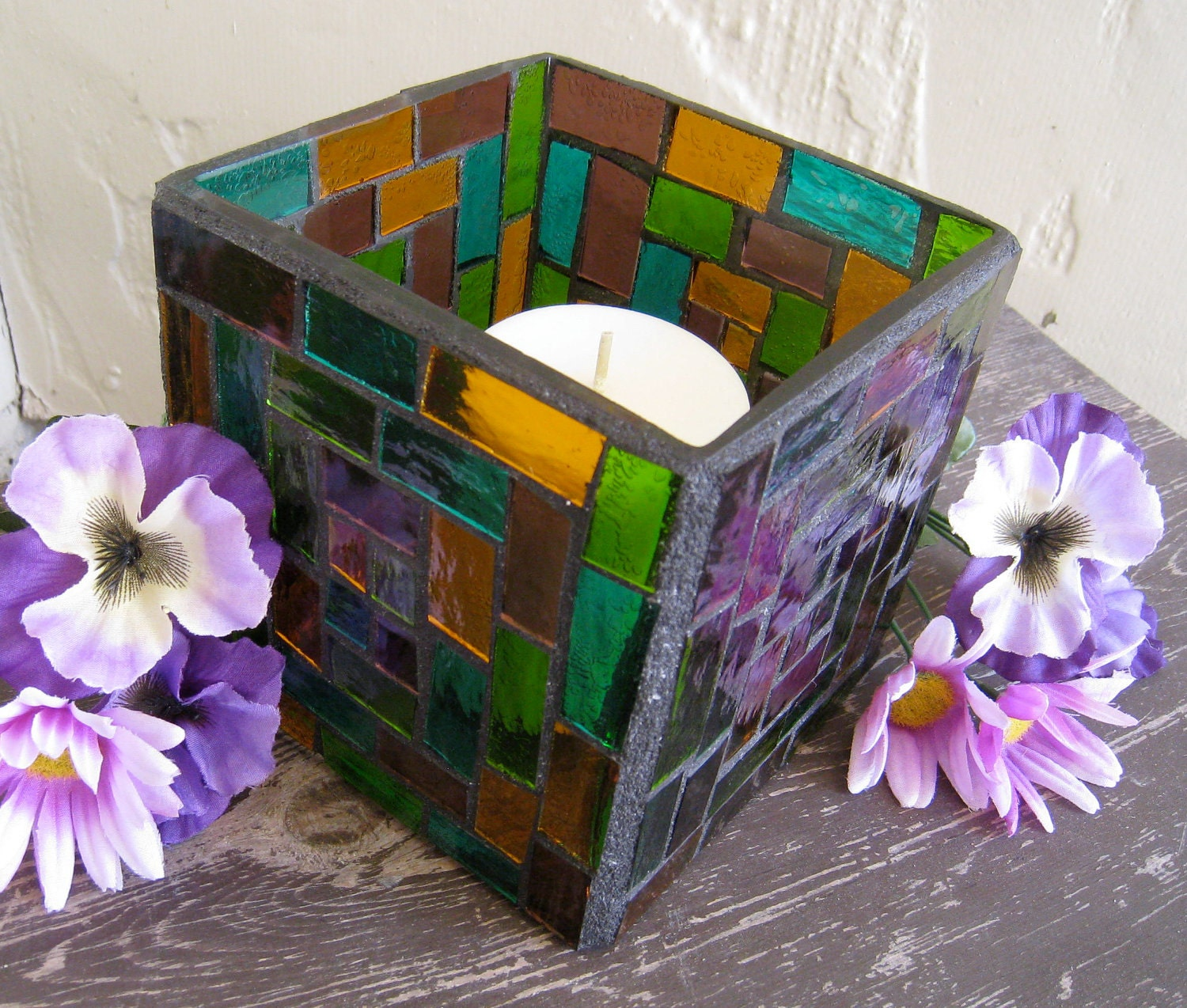 Mosaic Square Stained Glass Vase Or Candle Holder