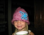 Custom Made Child Knitted Hat With Lizard, Butterfly, or Flower