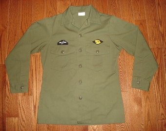 MEN'S Small (14.5 X 33) Charlie Army Shirt.  Always in Philly green military shirt