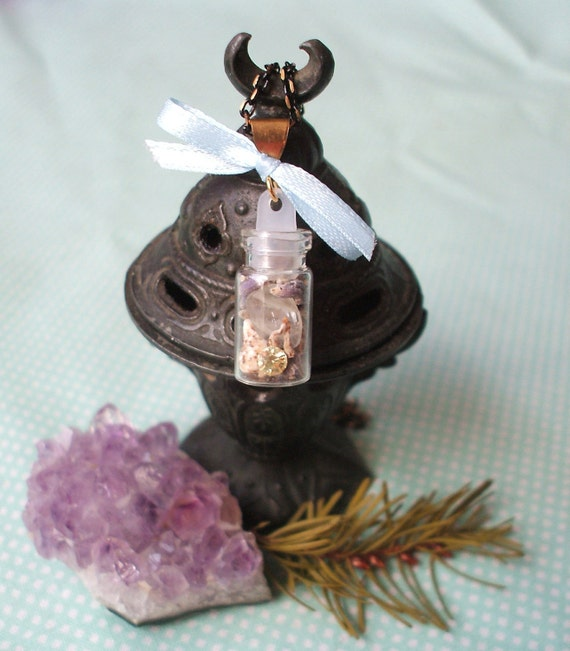 Love Spell Bottle Necklace - Moonstone Crystal - Herbal Gemstone Potion - Attract Love - Reiki Charged