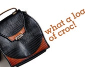 vintage 1970s crocodile leather black handbag bag purse pouch reddish brown trim
