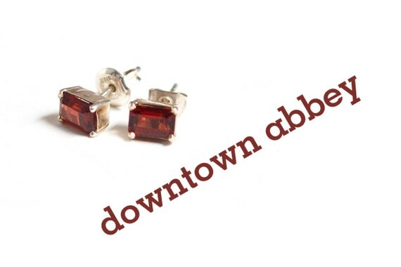 cognac red glass emerald asscher cut earrings solitaire twinkle simple clean