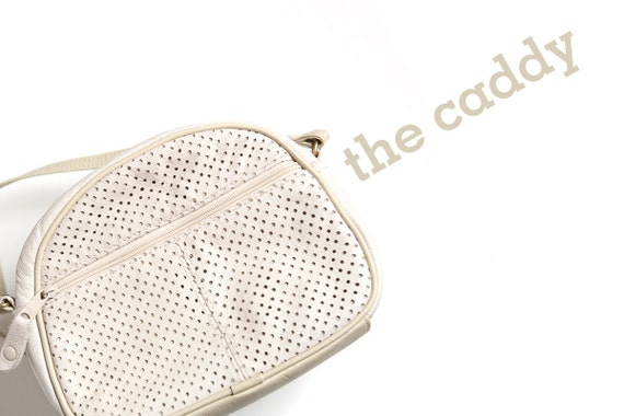 perforated leather purse handbag bag pouch cream off white zipper