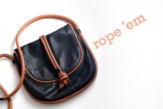vintage black black leather rope kenneth cole bag