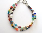 Double strand bracelet with mixed glass and natural stone beads, sterling silver beads
