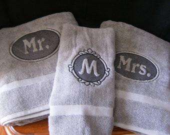 Mr. and Mrs. Bath towels w/matching hand towel