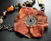Flower and glass beaded necklace