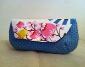 Summer Floral (blue)  large Clutch purse