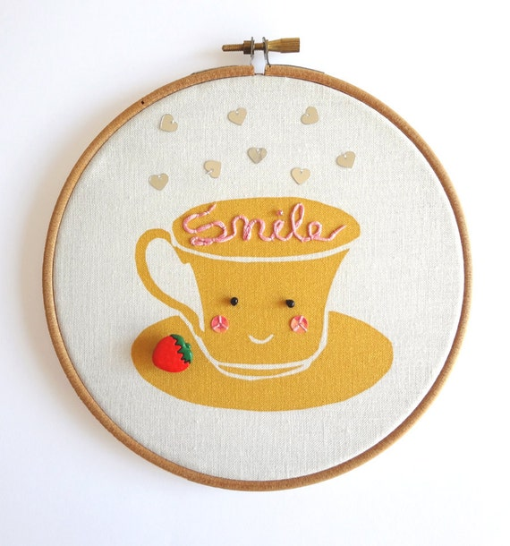 Cute round frame embroidery hoop Miss Tea cup (Smile)