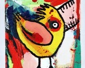 """The Angry Chicken-original acrylic painting 4"""" X 4"""""""
