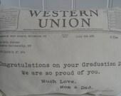 "Graduation Birthday Telegram Mini 11 x 8"" Pillow"