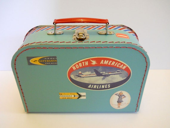 Decorative Blue Paper Suitcase with Personalized Luggage Tag - Come Fly With Me