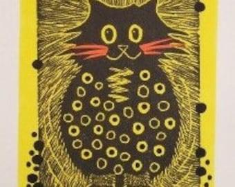 """Lemon Yellow Polka Dot Cat linocut, 4 3/4""""W x 7""""H print"""