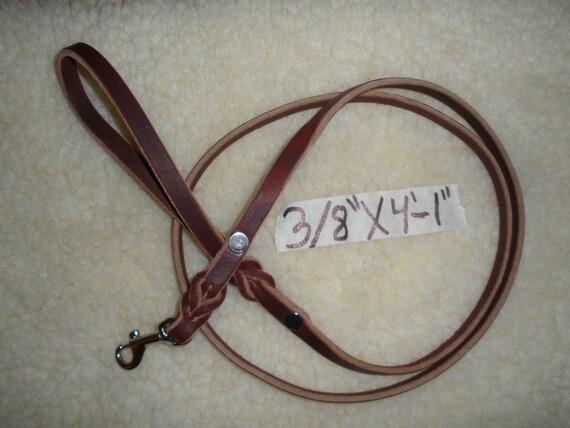 "Latigo leather DOG SHOW / walking  leash 3/8"" X 4' foot 1"" long, STEEL  chrome swivel snap"