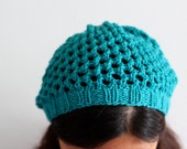 Knit Hat - Slouchy Beanie in Bird's Eye Lace - READY TO SHIP