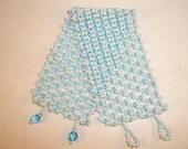 Aqua Pearl Net stitch cuff Miyuki seed bead bracelet