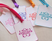 Damask Gift Tags. Flourish Favor tags, Wish Tree, Crystals Bright colors, Hang tags, Wedding Wishes