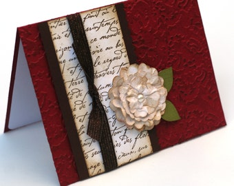 Red Tattered Rose Anniversary Card, Love, Vintage Inspired Romantic Card, White Rose Birthday card, French Script Floral