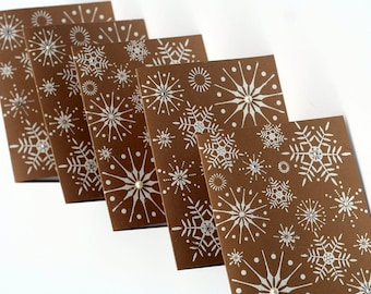 Snowflake Christmas cards, Brown White Holiday note cards, Embossed Christmas card set, holiday greeting cards
