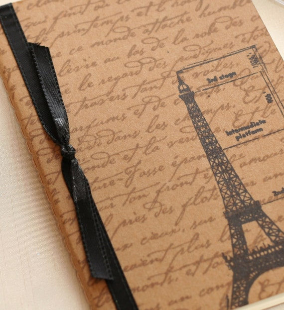 Eiffel Tower Journal, French Script mini notebook, Vintage inspired altered journal, Kraft Moleskine Notebook, birthday gift