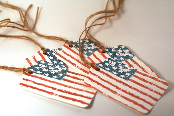Red White & Blue Flag Gift Tags, Favor Tags, Patriotic, 4th of July Party Hang Tags Distressed Style
