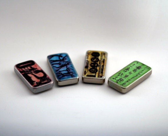 Domino Magnets, Altered Dominos, Distressed Style, fridge magnets, Upcyled, fun gift ideas, kitchen magnet set, Office magnets
