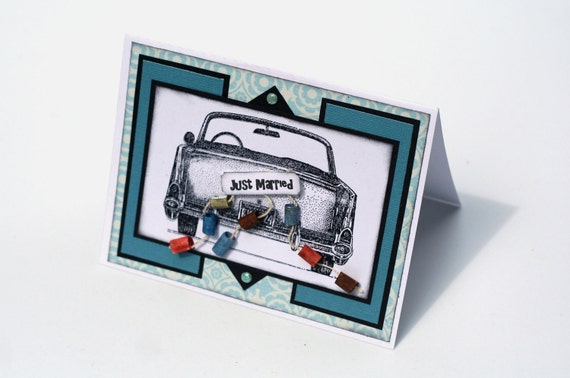 Teal Blue Wedding Card, 57 Chevy convertible Tin Cans Just Married Card, Wedding Congratulations card, Bride and Groom, cute 3d wedding card