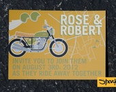 Rose Invitation Set - Vintage Motorcycle Wedding