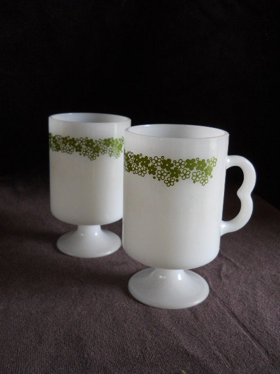 Vintage Milkglass Crazy Daisy Green Spring Blossom Mugs Marked U.S.A. on bottom