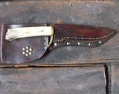 Handcrafted Deer Leg Bone Knife W/ High Carbon Steel Blade & Turquoise Inlays