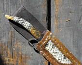 Handcrafted Carved Antler Tip Patch Knife W/ High Carbon Steel Blade & Leather, Snake Skin Sheath
