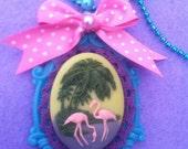 Alice in wonderland  kawaii kitsch lolita flamingo lace cameo pendant