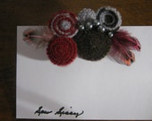 Mod style felted wool brooch pin with feathers and faux pearls