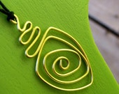 """Brass Metal Wire Twisted Hemp Cord Necklace """"Travel Down the Rabbit Hole"""""""