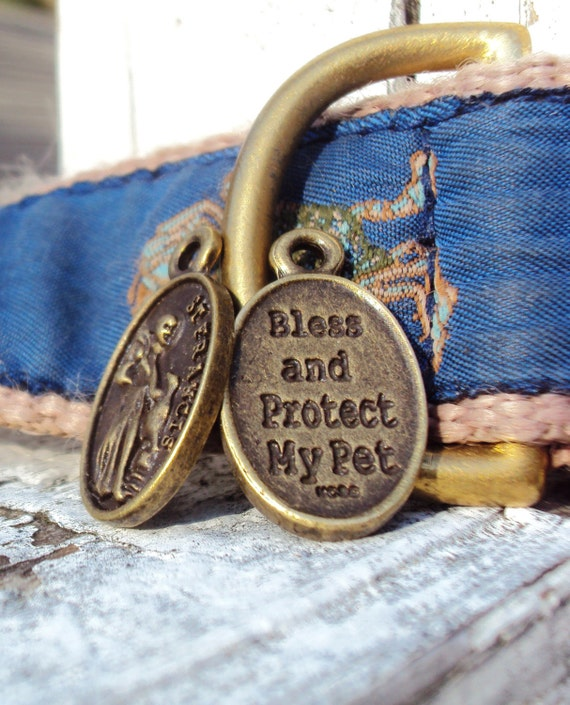 Bronze St. Francis Penndant Saint Medal-Pet Tag Dog Charm Beads-Protector of Animals (6:97)