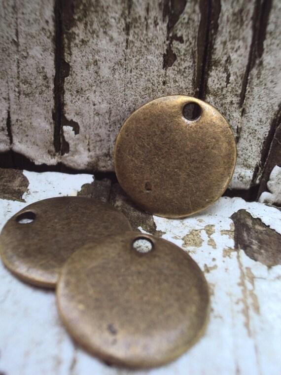 Metal Stamping Blank Discs- Bronze Pendant Disc- Jewelry Supplies 3 Pieces (1:12)
