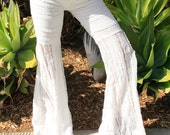 Flare Bell Bottom Goddess Lace Pants (white)