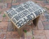 Recycled White Cedar Barn Wood and Coffee Sack Foot Stool