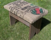 Recycled White Cedar Barn Wood and Jute Printed Coffee Sack Bench
