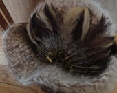 Angora Feathered Hat - Warm and Soft - Can Be Floppy or Sophisticated