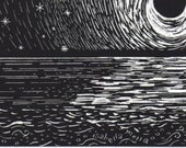 Framed original artwork, moon shimmer, one of a kind ACEO scratchboard drawing