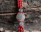 Red celtic leather bracelet, mens celtic bracelet, red leather bracelet, knotted celtic bracelet, braided leather bracelet,