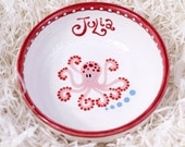 Octopus Pink Baby Bowl / Colorful Polka Dot on a White Ceramic Bowl / Polish Pottery