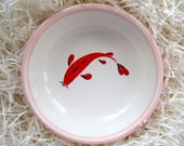 CIJ Pink cat bowl with a red fish